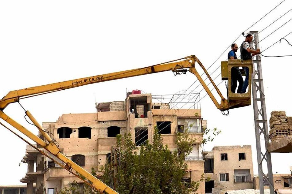 Durch den Krieg in Syrien wurde zahlreiche Regionen zerstört. Teilweise ist schon der Wiederaufbau im Gange.