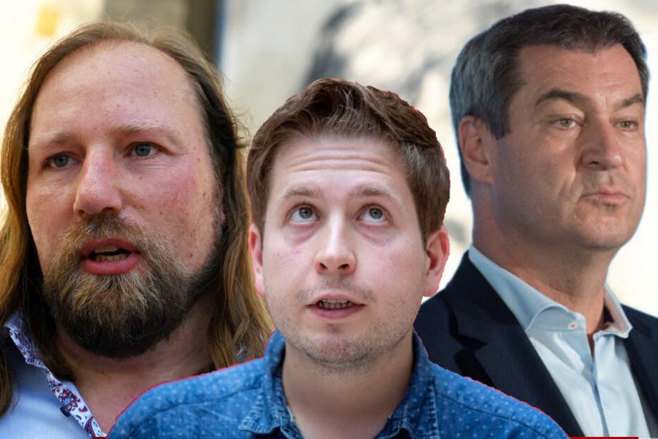 Große Namen, große Stimmung. Unter anderem werden Anton Hofreiter (Grüne), Kevin Kühnert (Jusos) und Markus Söder (CSU, v.l.) verbal auf den politischen Gegner einprügeln.