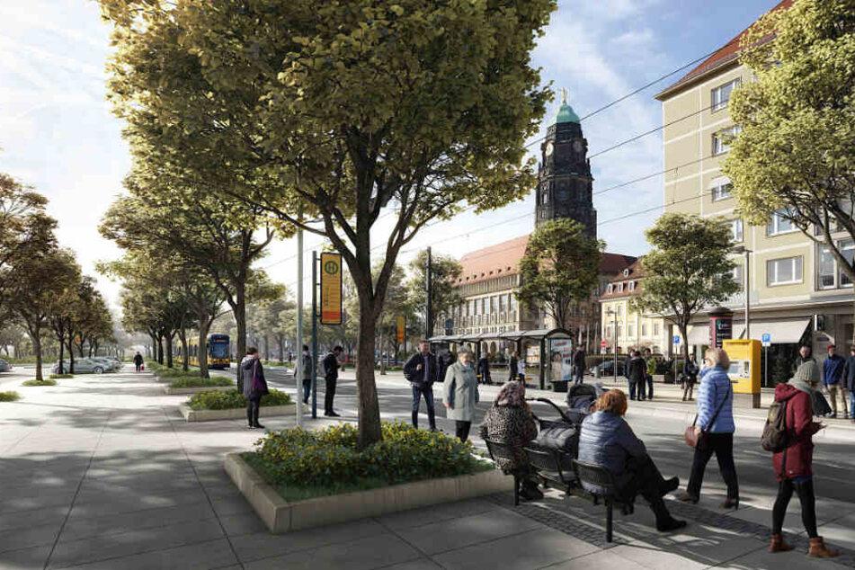So soll der Promenadenring am Pirnaischen Platz zukünftig aussehen.