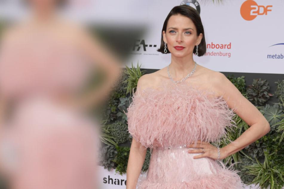 Eva Padberg bezauberte mit einem rosa Kleid.