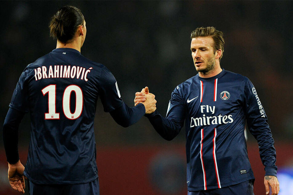 Spielten bei Paris Saint-Germain zusammen: Die Superstars Zlatan Ibrahimovic (l.) und David Beckham (r.).
