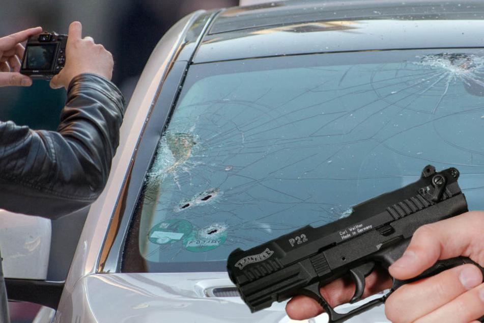 Das Auto wurde mit Kugeln durchlöchert.