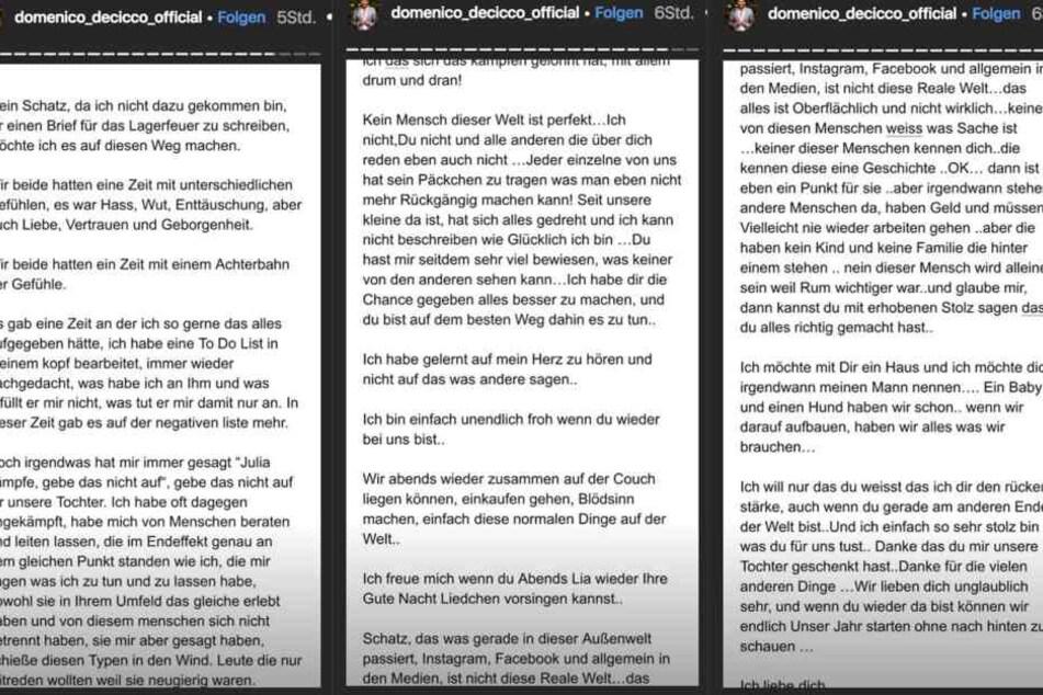 Der Screenshot zeigt den Liebesbrief der angeblich gar nicht aus der Feder von Domenicos Freundin Julia stammen soll.