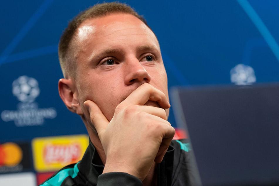 ter Stegen auf der Pressekonferenz vor dem Champions-League-Duell gegen den BVB am Dienstag.