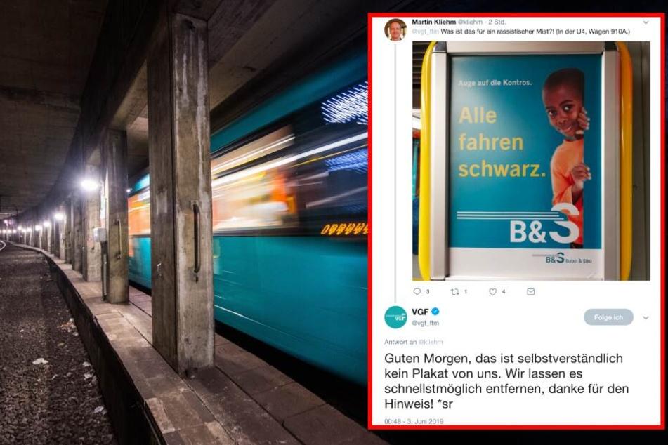 Das Plakat wurde in einer U-Bahn der Linie U4 entdeckt. (Fotomontage/Symbolbild)