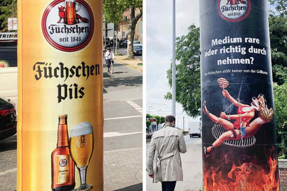 """Die Düsseldorfer Brauerei """"Füchschen"""" hat begonnen, ihre unter Sexismusverdacht geratenen Werbeplakate auszutauschen."""