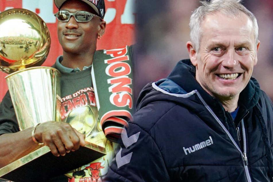 Freiburg-Trainer Streich erklärt Fußball mit Basketball-Legende Michael Jordan