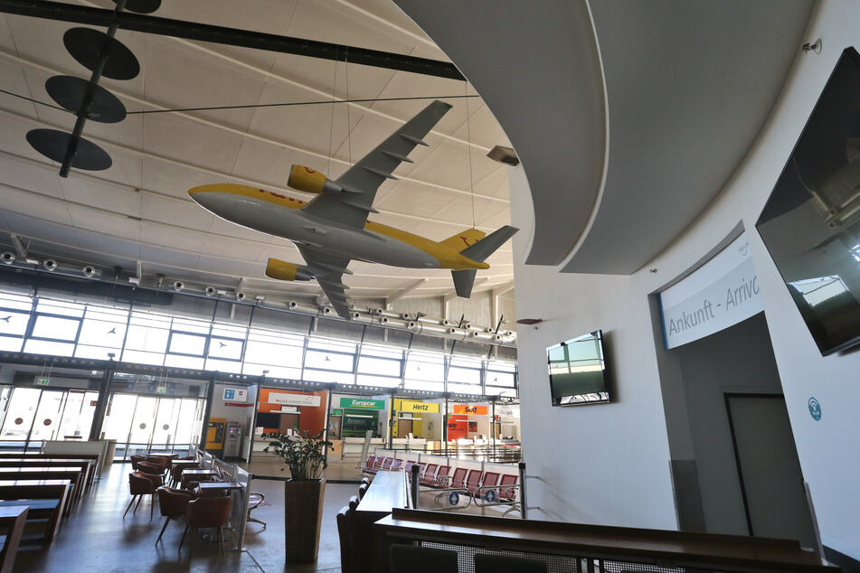 Menschenleer ist der Terminal des Memminger Allgäu-Airports.