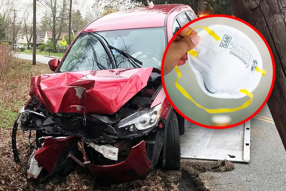 Erster Unfall wegen Corona-Maske im Auto!