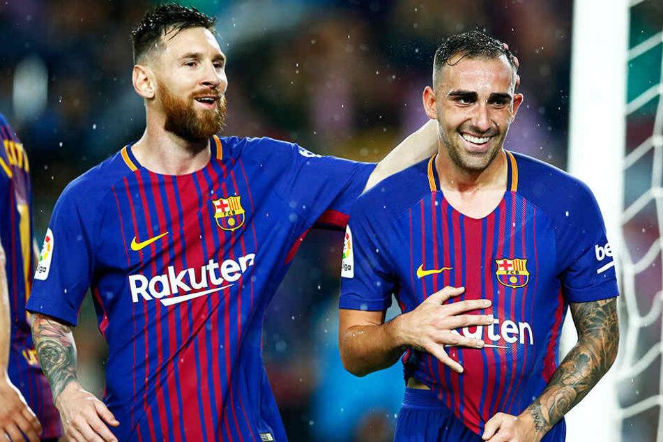Kommt er hier, nein, nicht Barcas Lionel Messi (l.), sondern Paco Alcacer (r.) zum BVB?