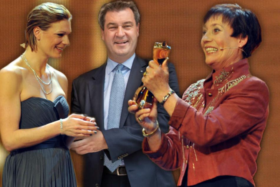 Maria Höfe-Riesch (33), Markus Söder (51, CSU) und Rosi Mittermaier (67).