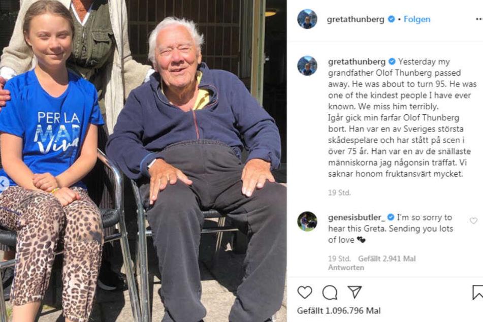 Mit bewegenden Worten verabschiedete sich Greta Thunberg von ihrem Opa.