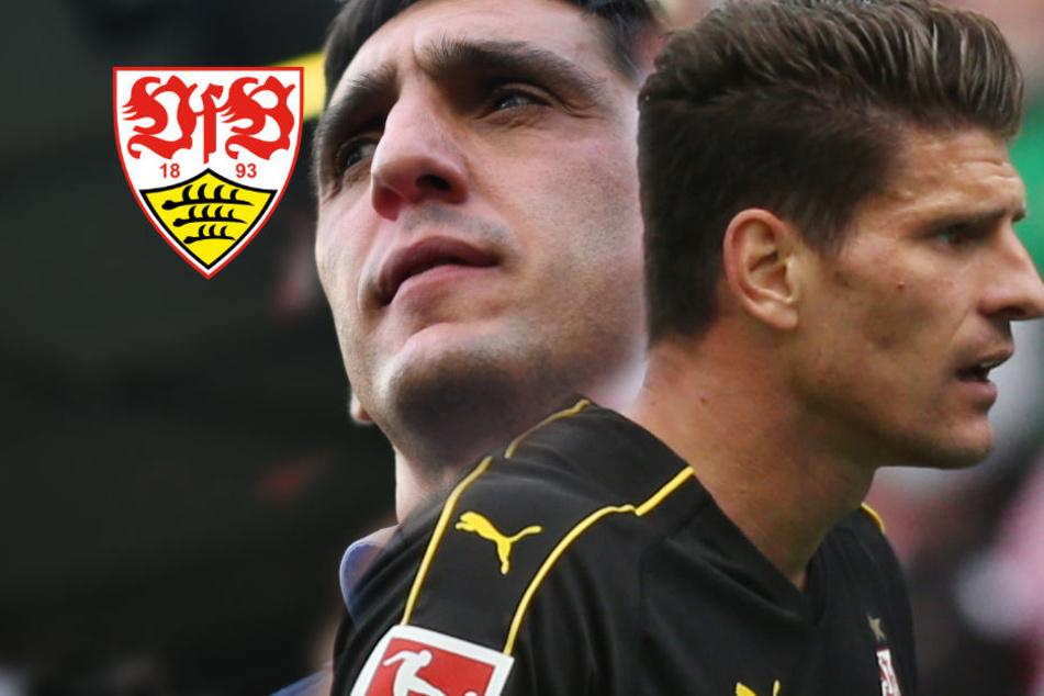 VfB-Trainer Tayfun Korkut (44) und Stürmer Mario Gomez (33) sind unzufrieden mit der derzeitigen Situation ihres VfB.