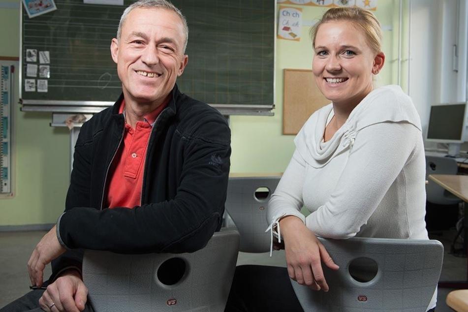 Zwei von über 1000 Quereinsteigern an Sachsens Schulen: Julia Beranek (27) und Holm Buchner (52) unterrichten in Dresden.