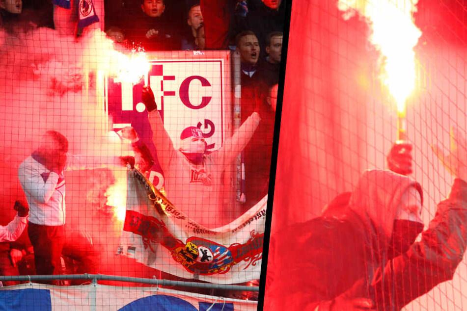 Im Hinspiel wurde ordentlich Pyro gezündet. Unter anderem verbrannten die Magdeburg-Fans einen Union-Banner. (Bildmontage)