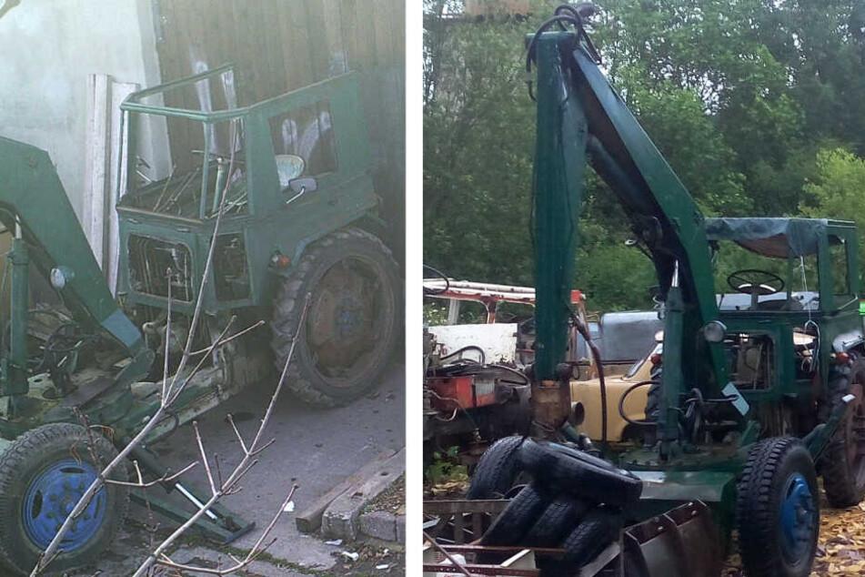 Mit diesen Fotos suchen Besitzer und Polizei nach der Arbeitsmaschine.