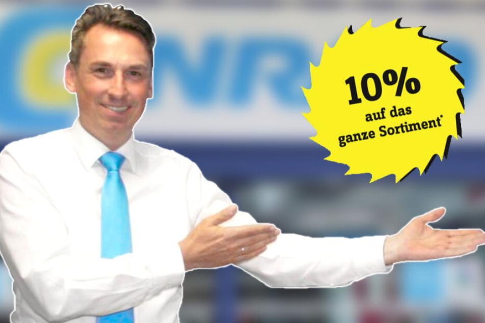 Hi, ich bin Jochen Mädler von Conrad Berlin und schenke Dir 10 Prozent Rabatt auf mein gesamtes Sortiment¹!