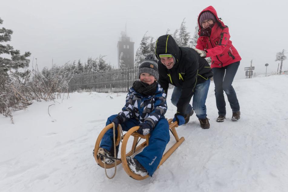 Beste Rodelbedingungen auf dem Fichtelberg, mit rund 20 Zentimeter Schnee.