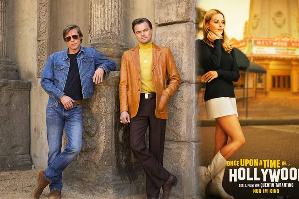 Spielen wichtige Rollen in den letzten Zügen von Hollywoods goldenem Zeitalter: Sharon Tate (r., Margot Robbie), Rick Dalton (M., Leonardo Di Caprio) und Cliff Booth (Brad Pitt). (Bildmontage)