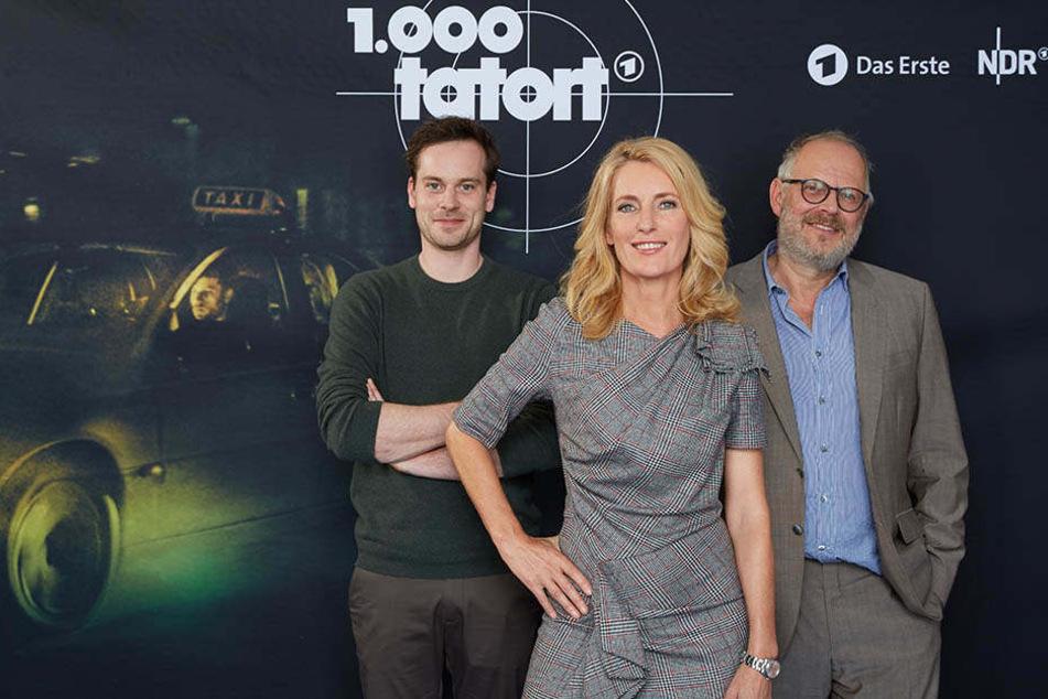 Die Hauptdarsteller der Jubiläumsfolge: Florian Bartholomäi (l), Maria Furtwängler und Axel Milberg.