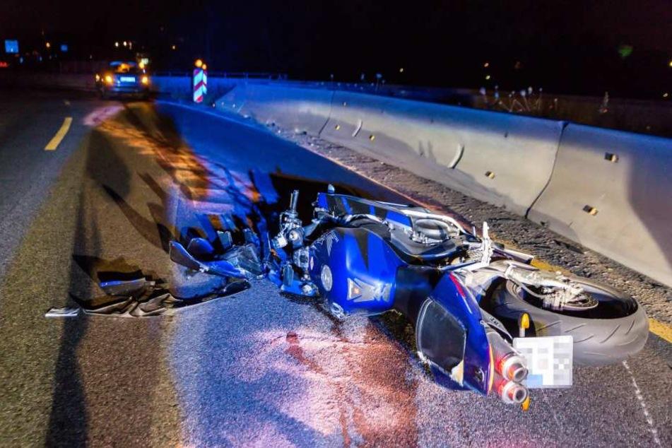 Das Motorrad war nach dem Crash kaum noch wieder zu erkennen.
