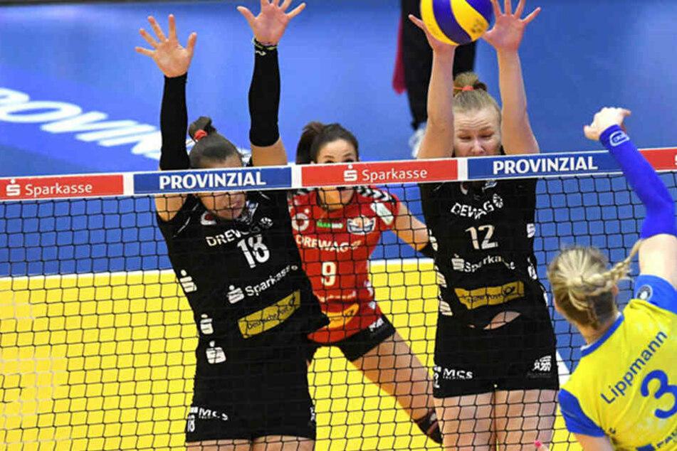 Louisa Lippmann (rechts) punktete gegen ihren Ex-Verein. Der Dresdner SC unterlag mit 0:3.
