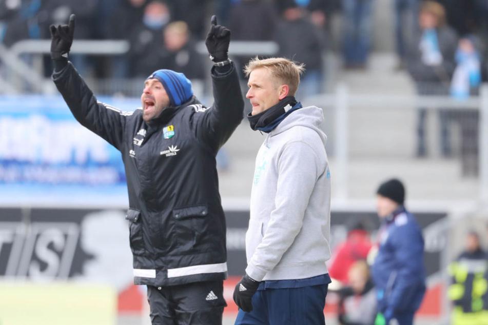 Der CFC tritt nach dem Abstieg in die Regionalliga mit dem alten Trainergespann David Bergner/Sreto Ristic (l.) an.