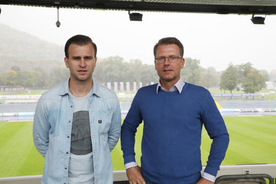 Schmitt hatte Rene Klingbeil (li.) als seinen Co-Trainer mit nach Jena gebracht.