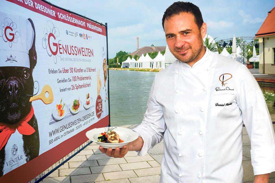 """Bei den """"Genusswelten"""" mit dabei: der Dresdner Koch Daniel Fischer (44). Ob bei ihm ein Häppchen für Maskottchen Paul abfällt?"""