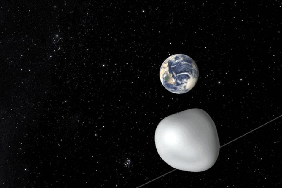 Das Videostandbild von einer Animation der Nasa zeigt den Asteroid 2012 TC4.