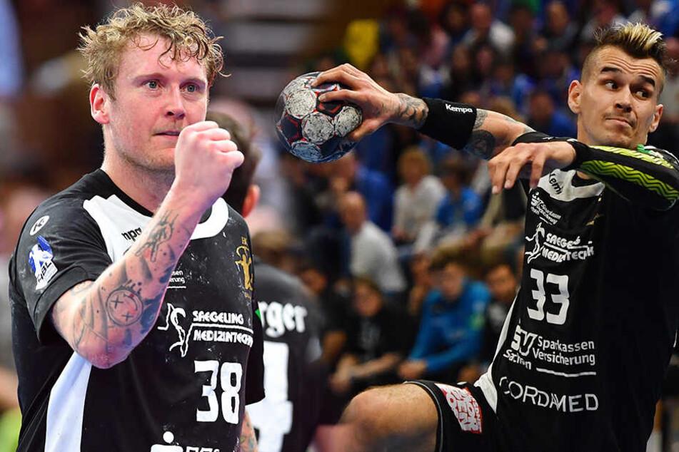 Henning Quade (links) war der erfolgreichste Torwerfer des Spiels, Roman Becvar (re.) traf kurz vor Schluss zum umjubelten 29:28.