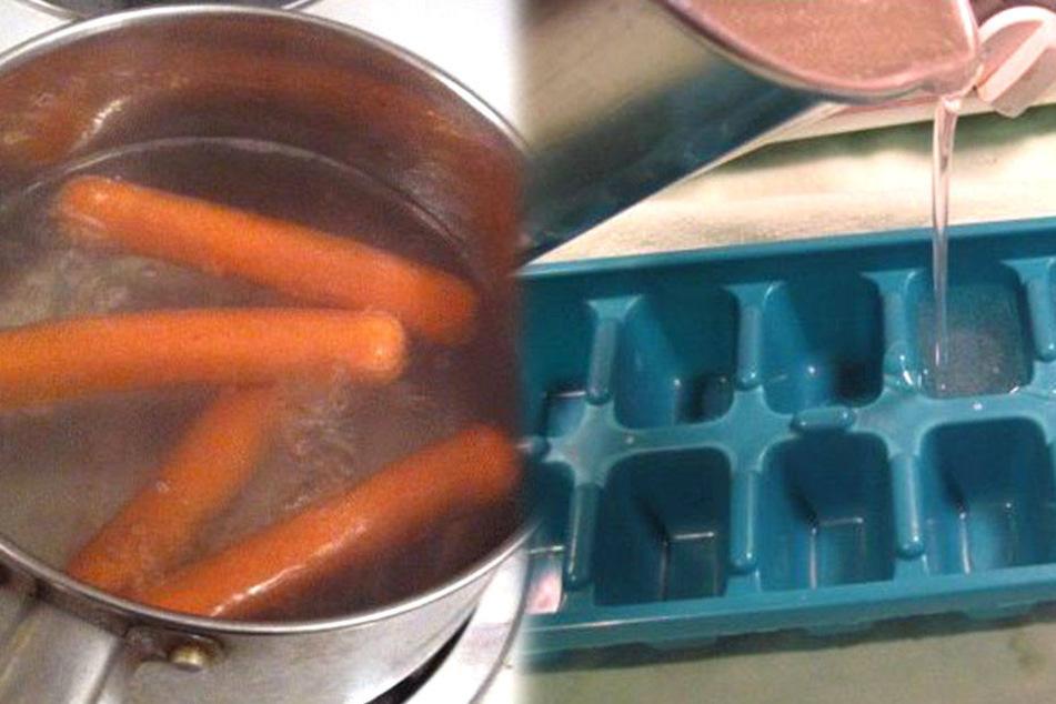 Heißes Wasser für Hotdog-Würstchen im Eiswürfelfach. Genialer Hack oder einfach nur verdammt fies.