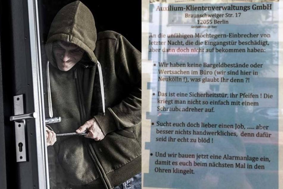 Die Einbrecher scheiterten an der Sicherheitstür und bekamen dafür diesen Brief.