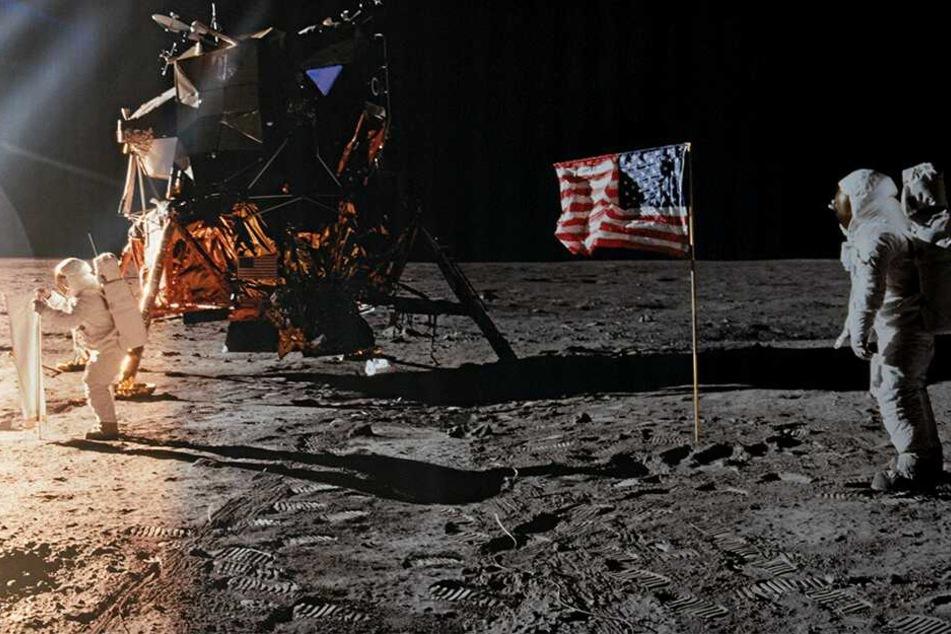 Diese originalen NASA-Fotos von der ersten Mondlandung vor fünfzig Jahren verleihen der Ausstellung einen Hauch von echtem Abenteuer.
