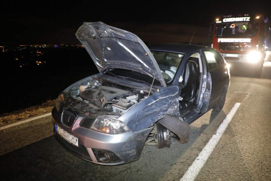 Am Harthauer Berg in Chemnitz gab es am Samstagabend einen heftigen Crash.