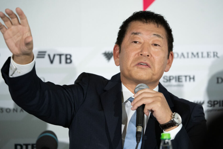 Präsident des Weltverbandes Morinari Watanabe bei der Pressekonferenz.