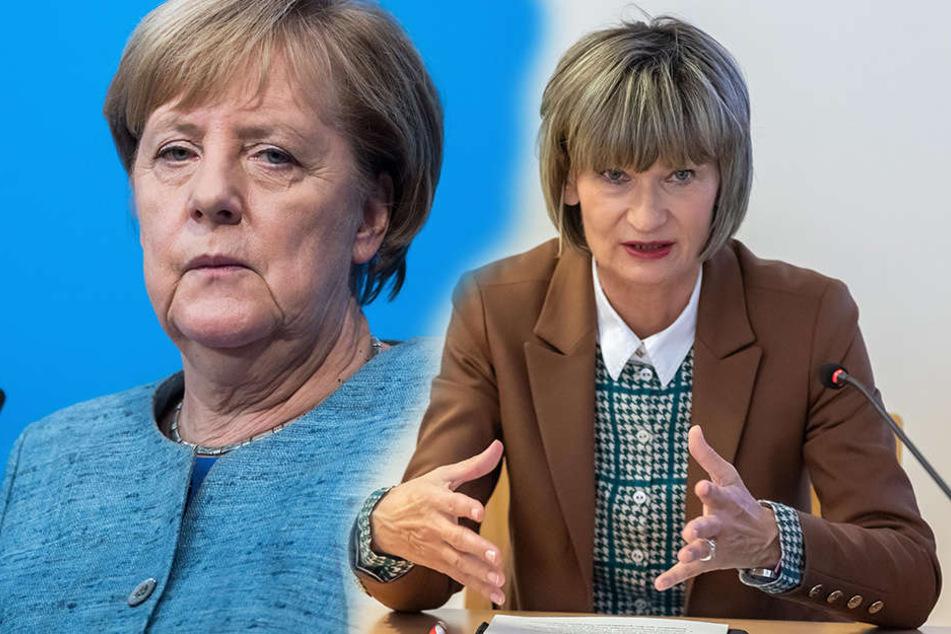 Unmittelbar vor dem Besuch von Bundeskanzlerin Angela Merkel (l., CDU) in Chemnitz hat Oberbürgermeisterin Barbara Ludwig (SPD) erneut den Zeitpunkt kritisiert.