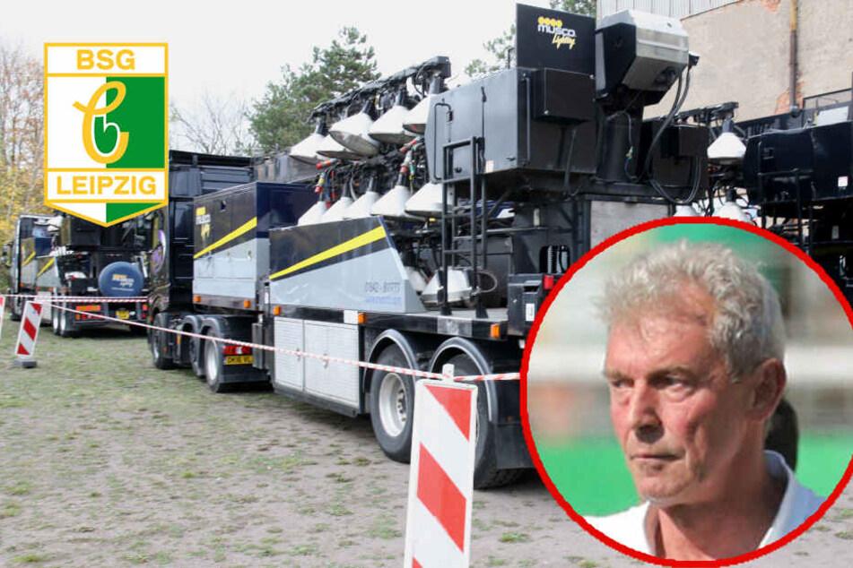 Hier parkt das Flutlicht für Chemie Leipzig, doch Trainer Demuth tobt