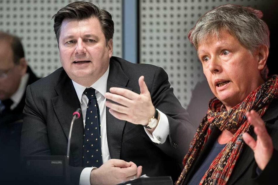 Linken-Chefin Katina Schubert (re.) kritisiert Berlins Innensenator Andreas Geisel heftig für die Abschiebung der albanischen Familie (Montage).