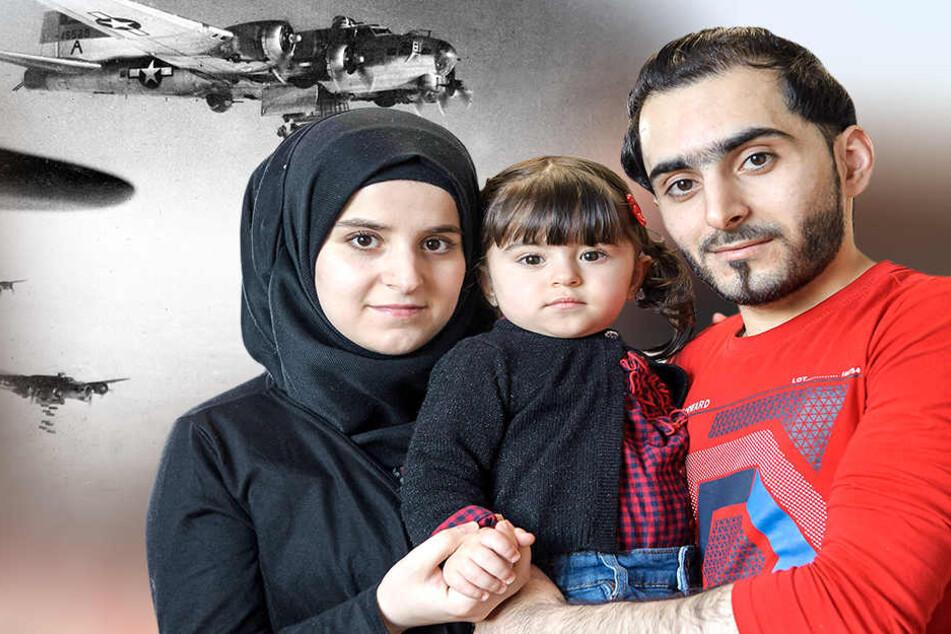 Syrer, Flüchtlinge - und jetzt  eine Chemnitzer Familie: Omar Dello (25) mit Ehefrau Eiman (21) und Töchterchen  Alma (1).