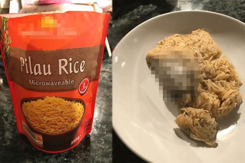 Mann kann nicht fassen, was er in seinem Reis von Lidl findet und seine Frau übergibt sich