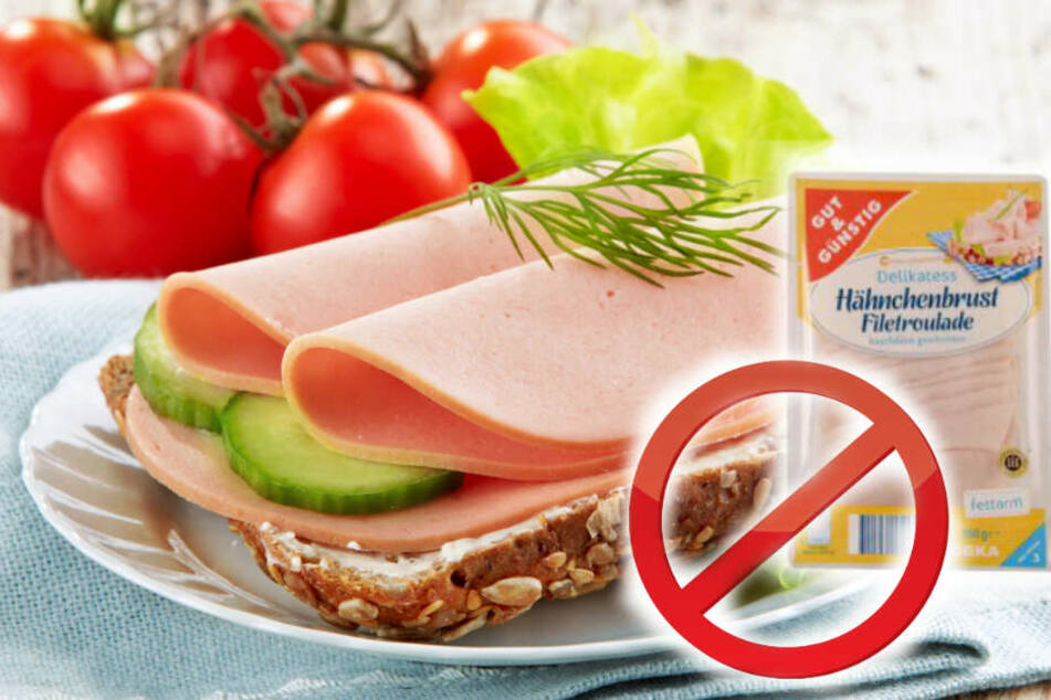 """Die """"Gut&Günstig Delikatess Hähnchenbrust-Filetroulade"""" wird zurück gerufen. (Bildmontage)"""