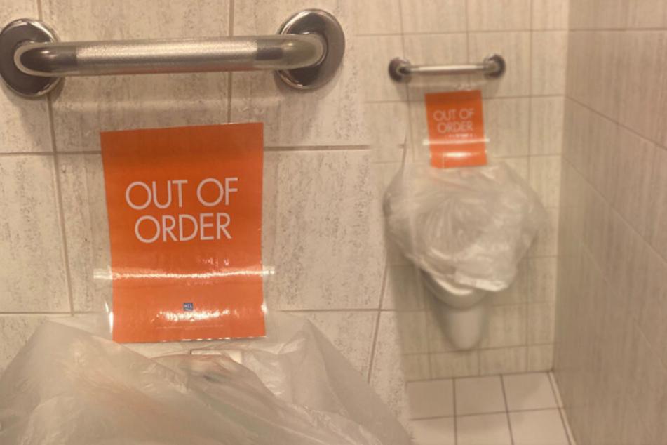Dieses Urinal darf nicht mehr benutzt werden.