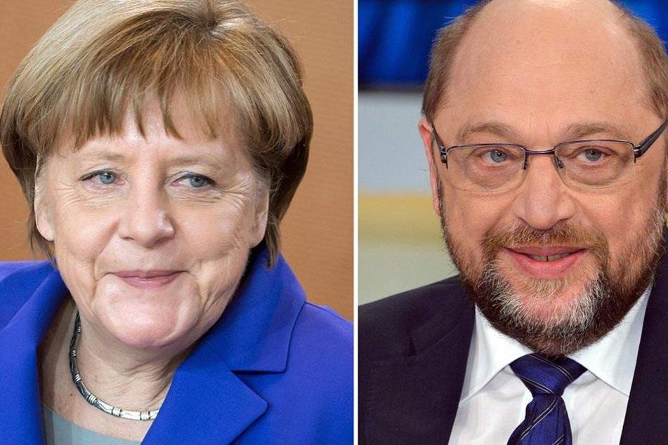 Sind jetzt Rivalen: Angela Merkel (62, CDU) und Martin Schulz (61, SPD).