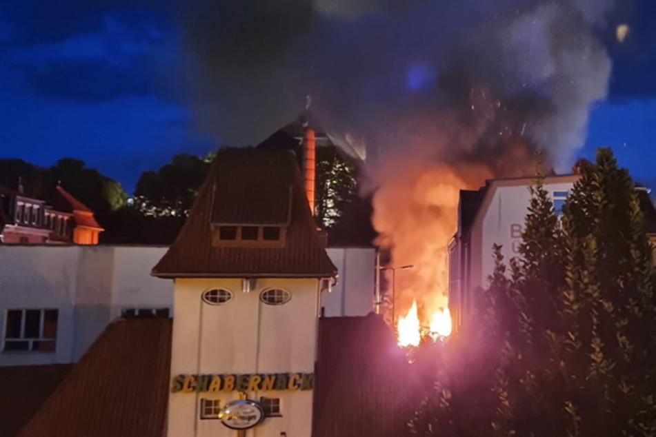 Ein leerstehendes Gebäude in der Nordhäuser Grimmelallee brannte.
