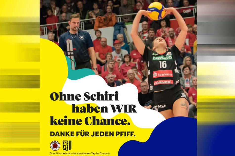 """""""Ohne Schiri haben WIR keine Chance"""" heißt das Motto der gemeinsamen Aktion von DSC und Stadt Dresden."""