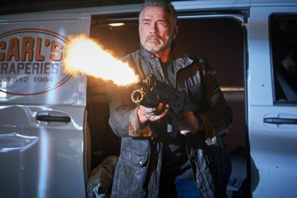 """Arnold Schwarzenegger als Terminator T-800 in einer Szene des Films """"Terminator: Dark Fate"""" (undatierte Filmszene)."""