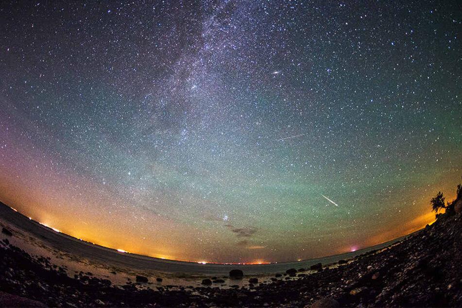 Mehrere Sternschnuppen sind über Fehmarn in Schleswig-Holstein am klaren Nachthimmel rechts neben der Milchstraße zu sehen.