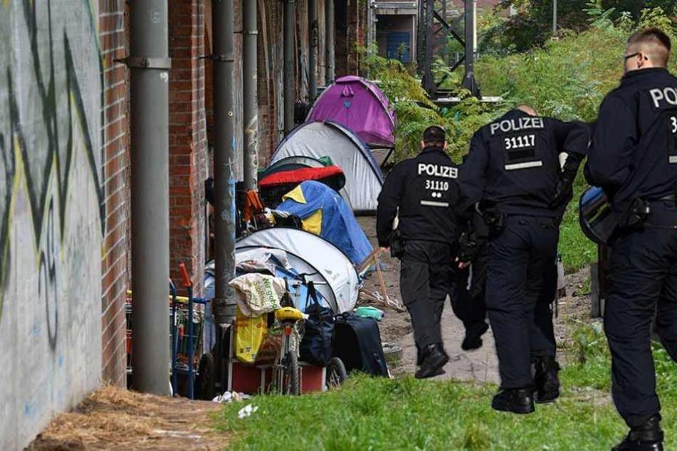 Illegales Zeltlager von Obdachlosen geräumt