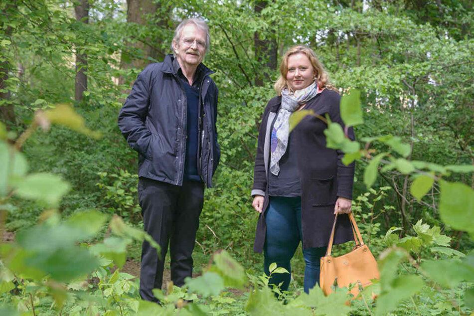 Sie fordern neue, naturnahe Spielideen im Carlowitzpark: Solveig Kempe (37, CDU) und Dieter Füsslein (78, FDP).